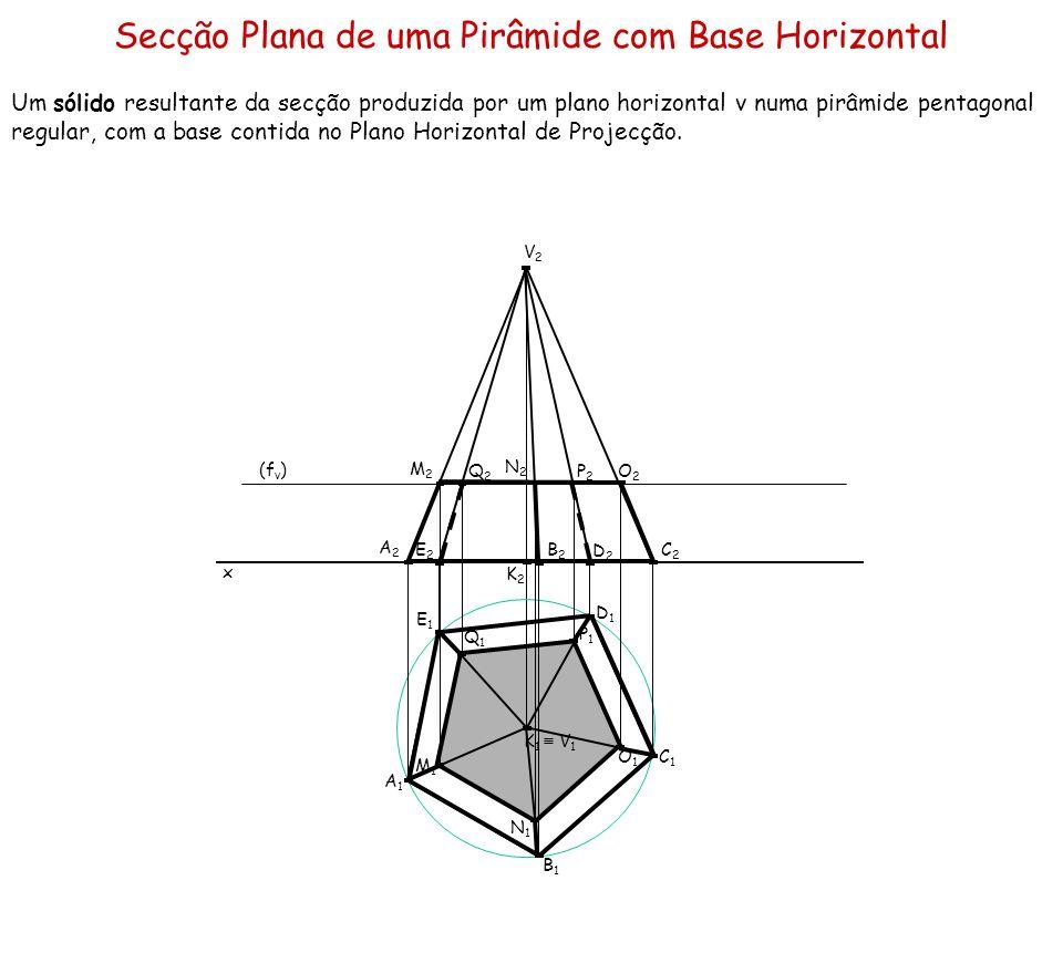 Secção Plana de uma Pirâmide com Base Horizontal