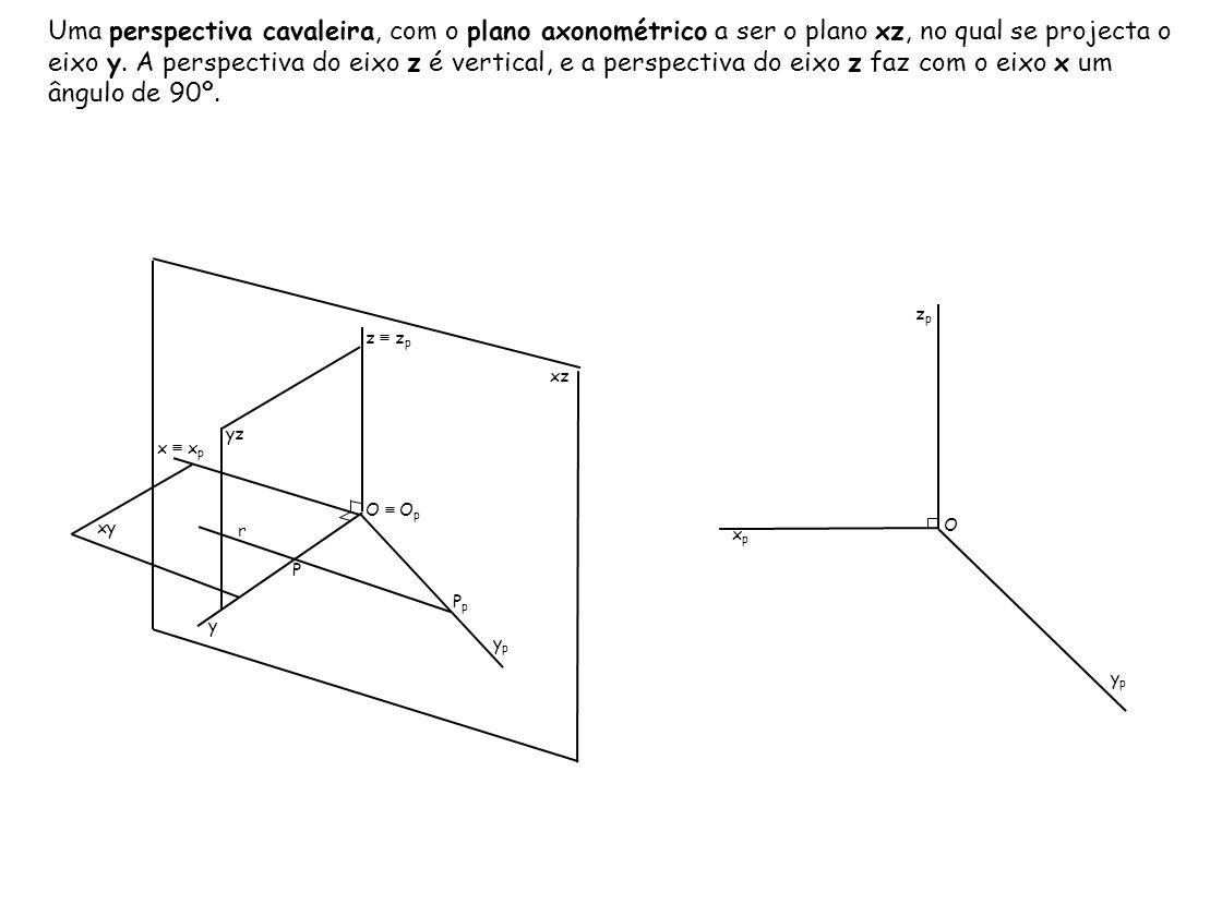 Uma perspectiva cavaleira, com o plano axonométrico a ser o plano xz, no qual se projecta o eixo y. A perspectiva do eixo z é vertical, e a perspectiva do eixo z faz com o eixo x um ângulo de 90º.