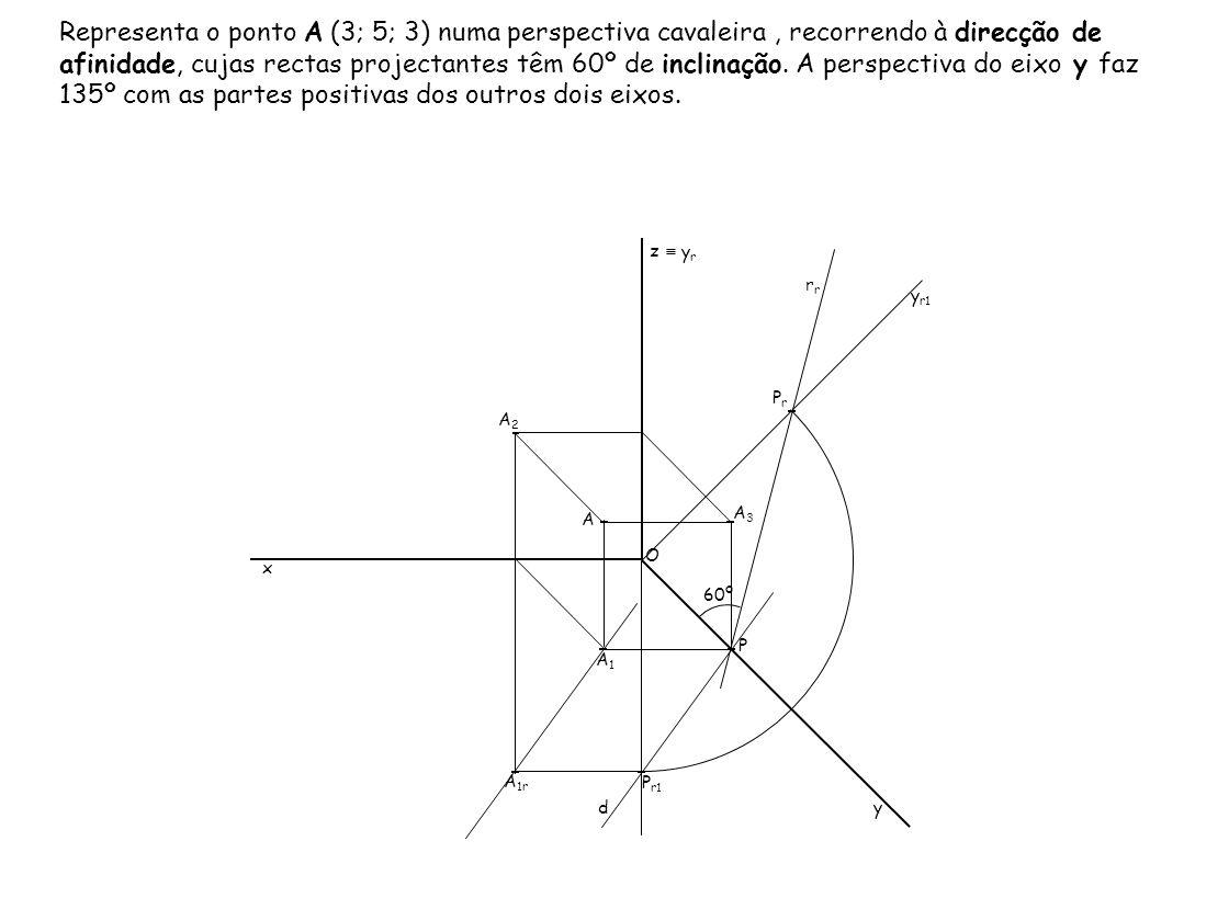 Representa o ponto A (3; 5; 3) numa perspectiva cavaleira , recorrendo à direcção de afinidade, cujas rectas projectantes têm 60º de inclinação. A perspectiva do eixo y faz 135º com as partes positivas dos outros dois eixos.
