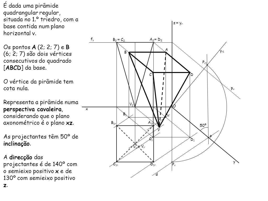 O vértice da pirâmide tem cota nula.