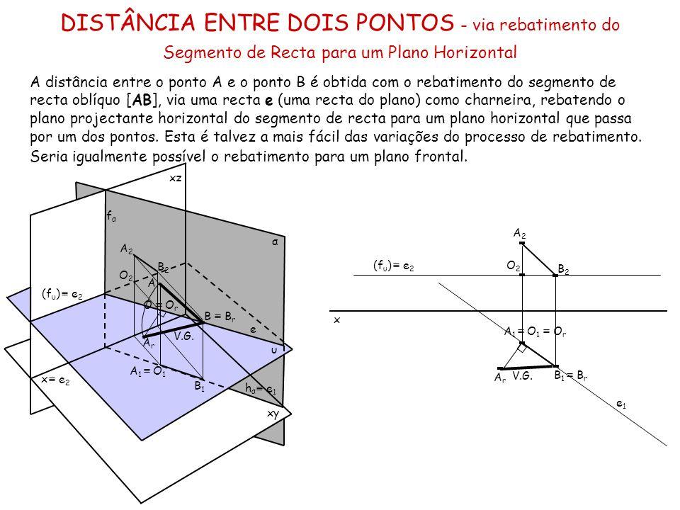 DISTÂNCIA ENTRE DOIS PONTOS - via rebatimento do Segmento de Recta para um Plano Horizontal