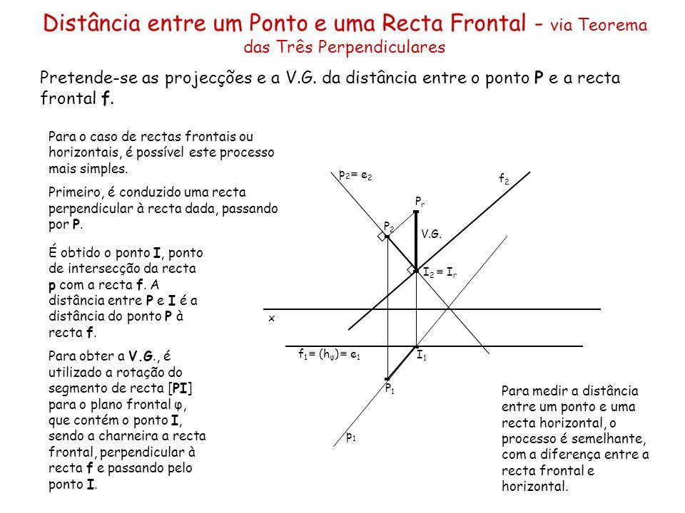 Distância entre um Ponto e uma Recta Frontal - via Teorema das Três Perpendiculares