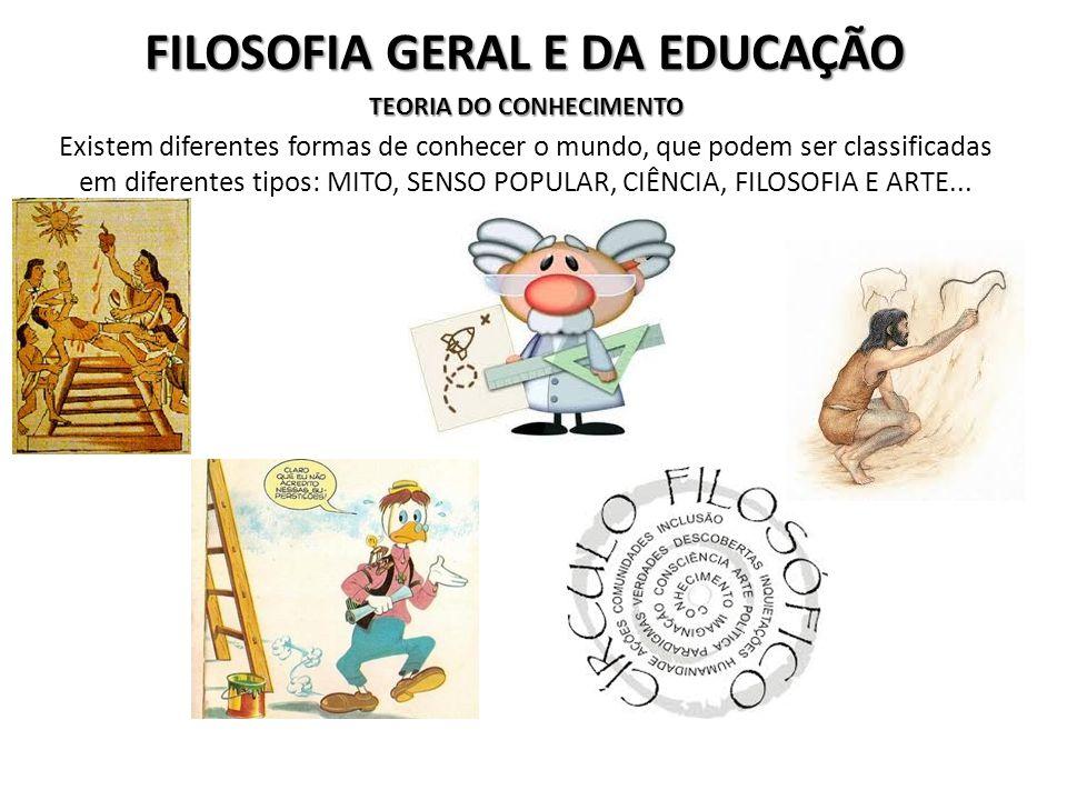 FILOSOFIA GERAL E DA EDUCAÇÃO TEORIA DO CONHECIMENTO