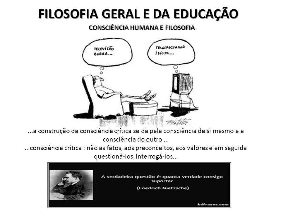 FILOSOFIA GERAL E DA EDUCAÇÃO CONSCIÊNCIA HUMANA E FILOSOFIA