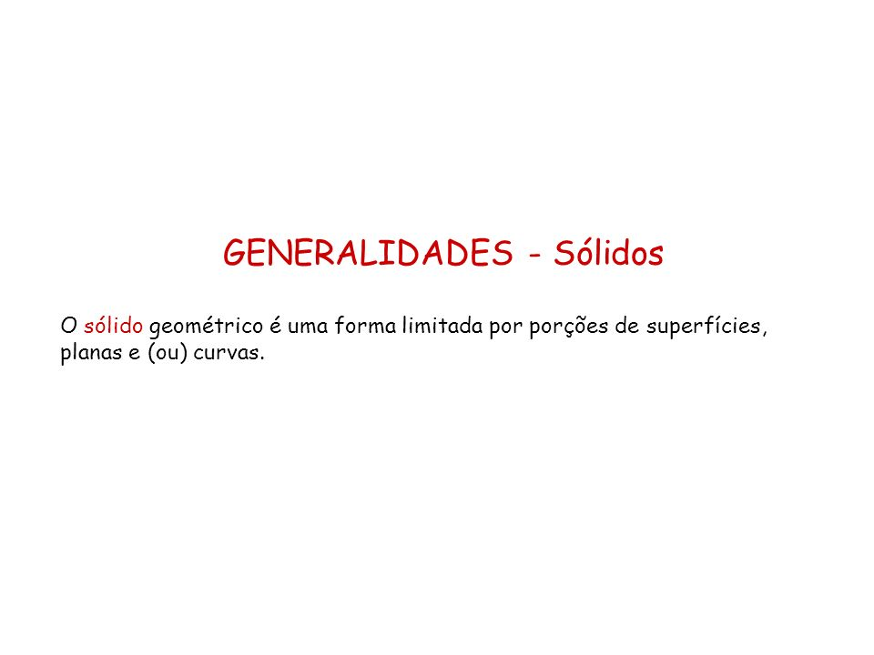 GENERALIDADES - Sólidos