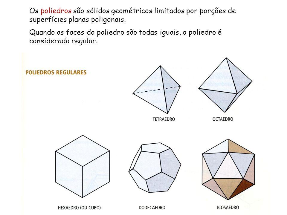 Os poliedros são sólidos geométricos limitados por porções de superfícies planas poligonais.