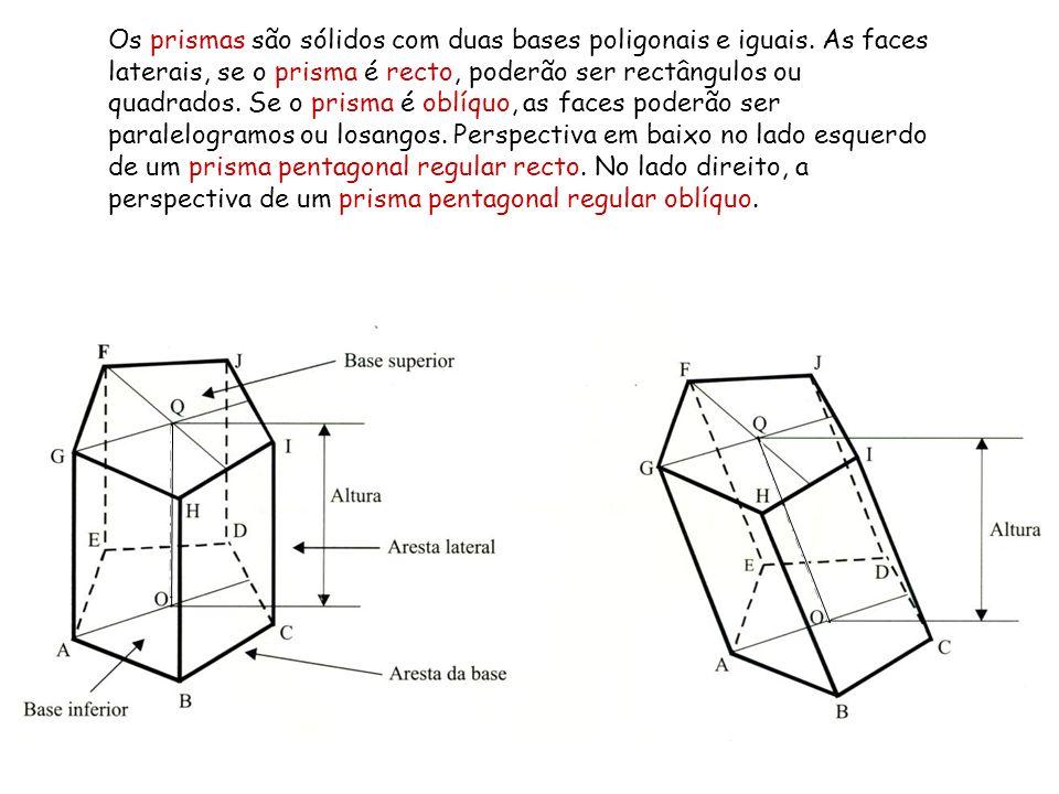 Os prismas são sólidos com duas bases poligonais e iguais