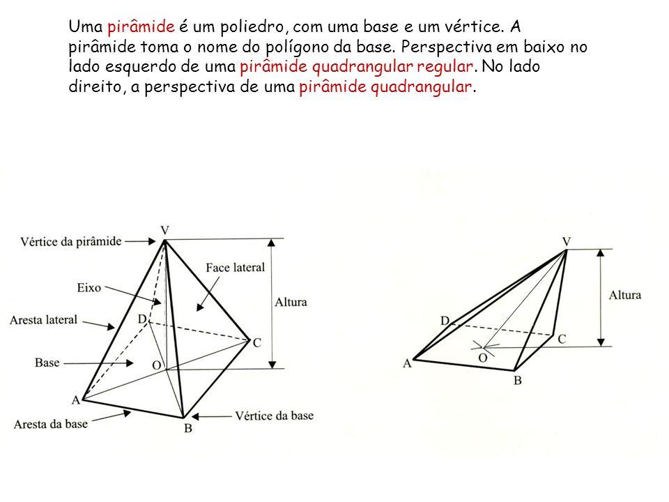 Uma pirâmide é um poliedro, com uma base e um vértice
