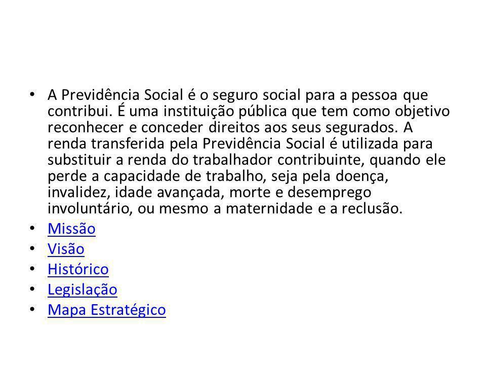 A Previdência Social é o seguro social para a pessoa que contribui