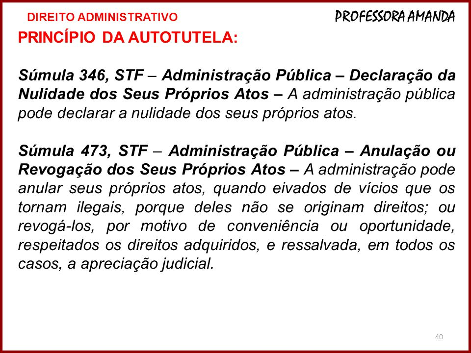 PRINCÍPIO DA AUTOTUTELA: