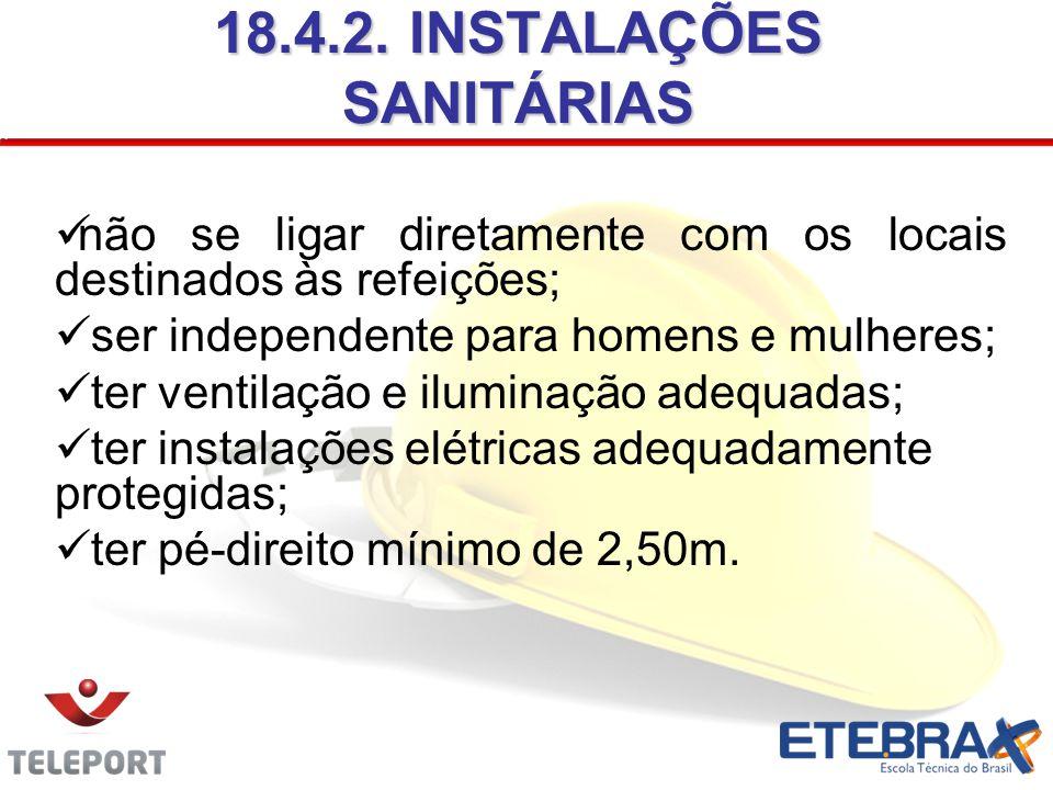 18.4.2. INSTALAÇÕES SANITÁRIAS