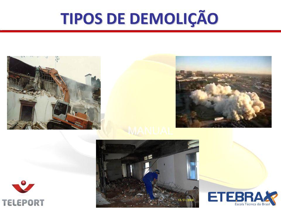 TIPOS DE DEMOLIÇÃO MECANIZADA EXPLOSÃO/IMPLOSÃO MANUAL 35