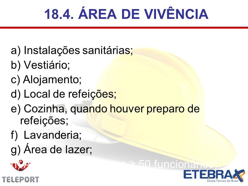 18.4. ÁREA DE VIVÊNCIA a) Instalações sanitárias; b) Vestiário;