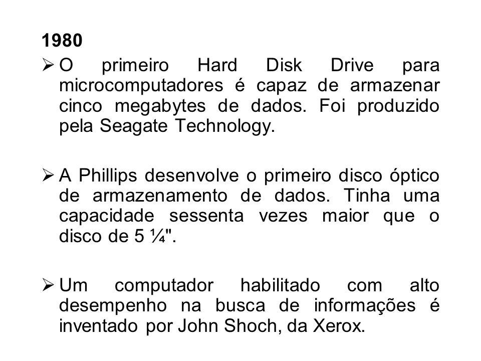 1980O primeiro Hard Disk Drive para microcomputadores é capaz de armazenar cinco megabytes de dados. Foi produzido pela Seagate Technology.
