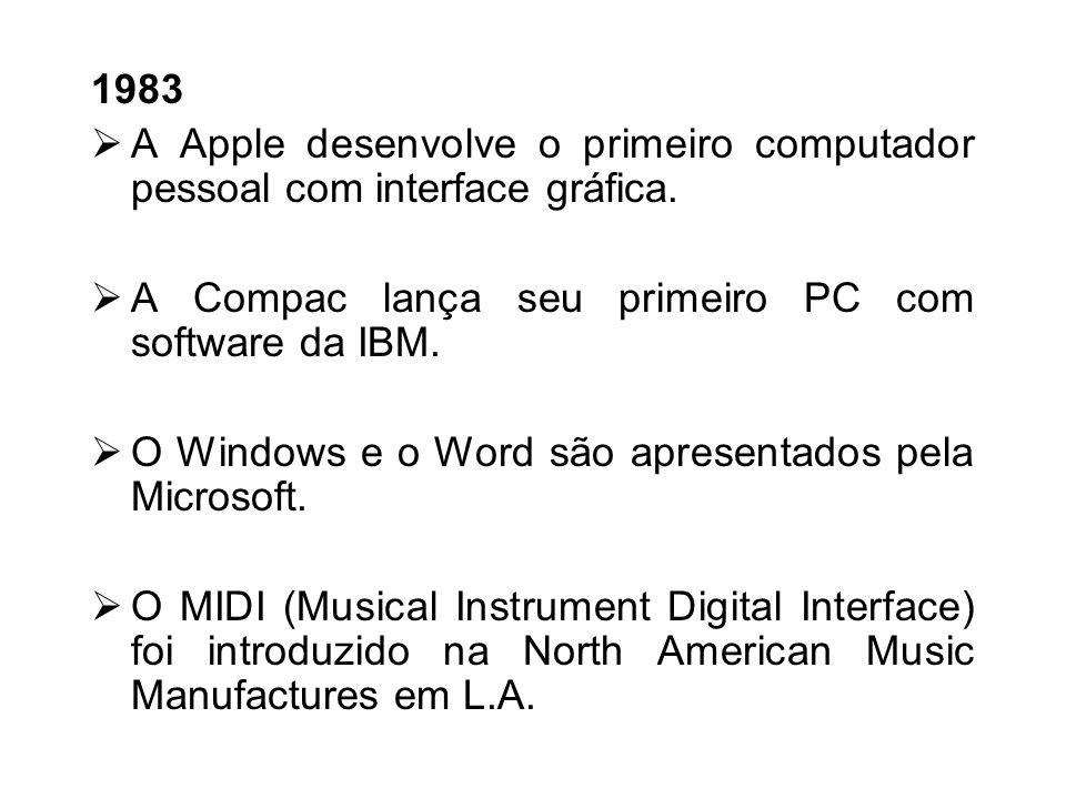 1983A Apple desenvolve o primeiro computador pessoal com interface gráfica. A Compac lança seu primeiro PC com software da IBM.