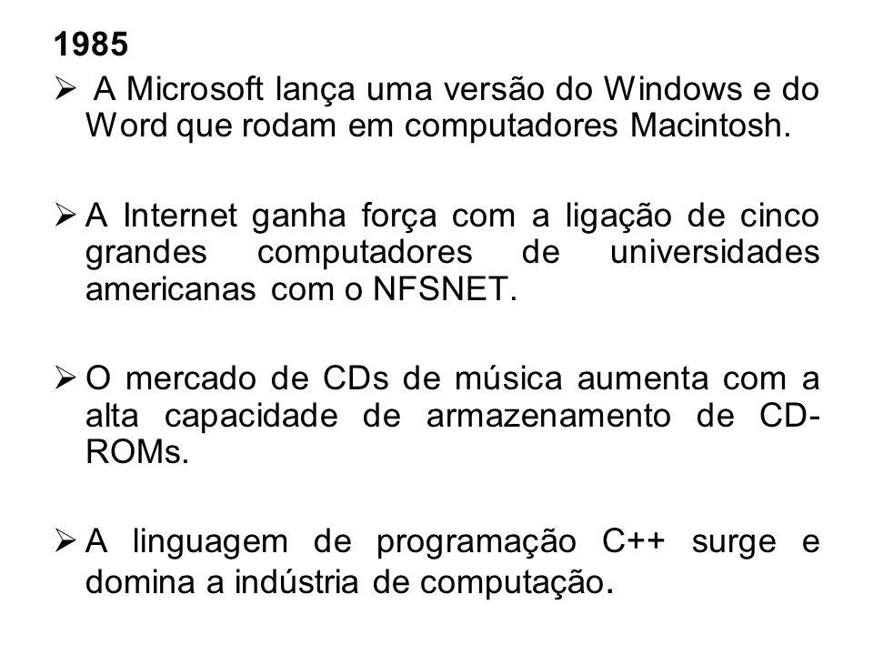 1985A Microsoft lança uma versão do Windows e do Word que rodam em computadores Macintosh.
