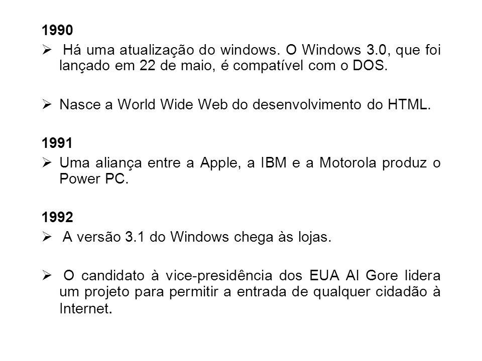1990Há uma atualização do windows. O Windows 3.0, que foi lançado em 22 de maio, é compatível com o DOS.