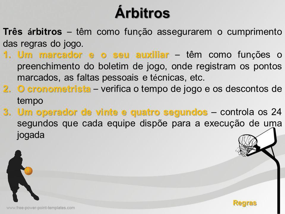 Árbitros Três árbitros – têm como função assegurarem o cumprimento das regras do jogo.