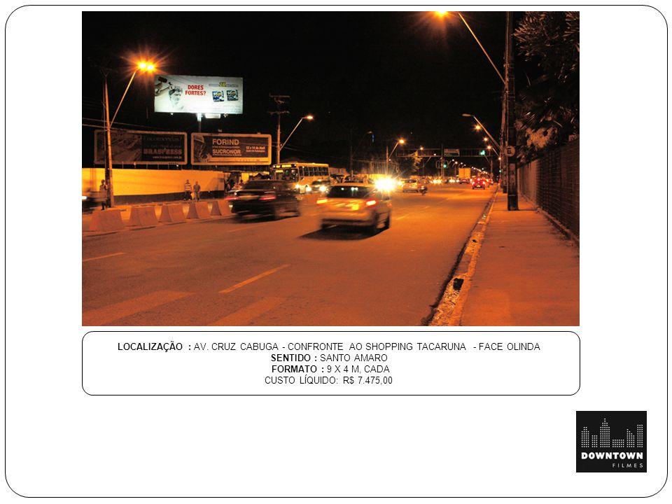 LOCALIZAÇÃO : AV. CRUZ CABUGA - CONFRONTE AO SHOPPING TACARUNA - FACE OLINDA
