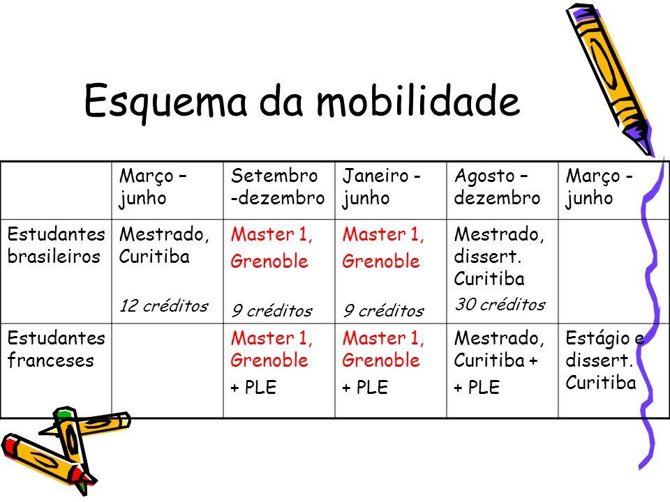 Esquema da mobilidade Março – junho Setembro -dezembro Janeiro -junho