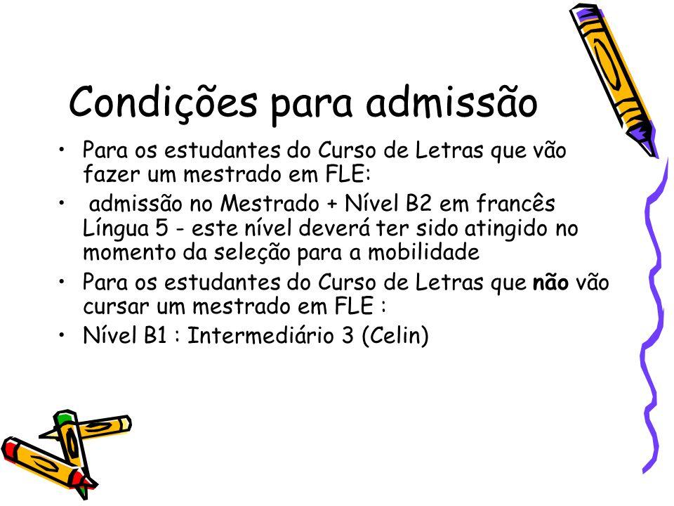 Condições para admissão