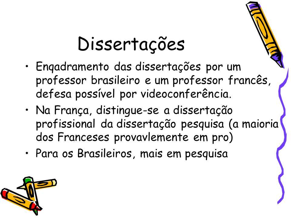 Dissertações Enqadramento das dissertações por um professor brasileiro e um professor francês, defesa possível por videoconferência.