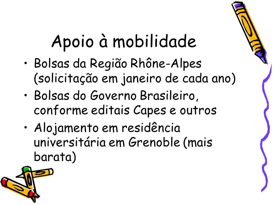 Apoio à mobilidade Bolsas da Região Rhône-Alpes (solicitação em janeiro de cada ano) Bolsas do Governo Brasileiro, conforme editais Capes e outros.