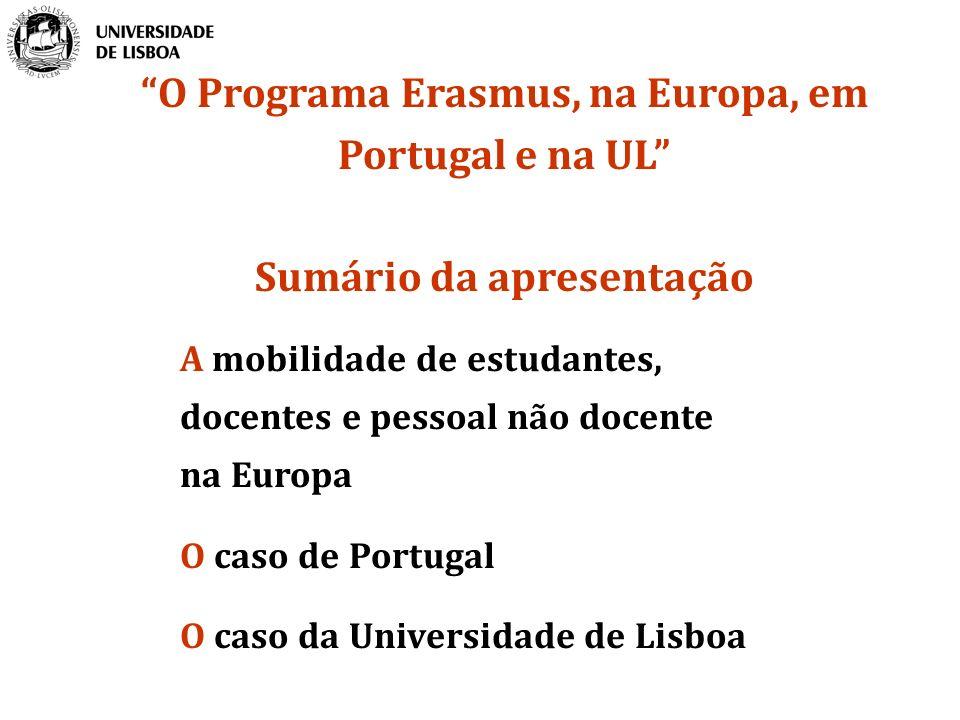 O Programa Erasmus, na Europa, em Portugal e na UL
