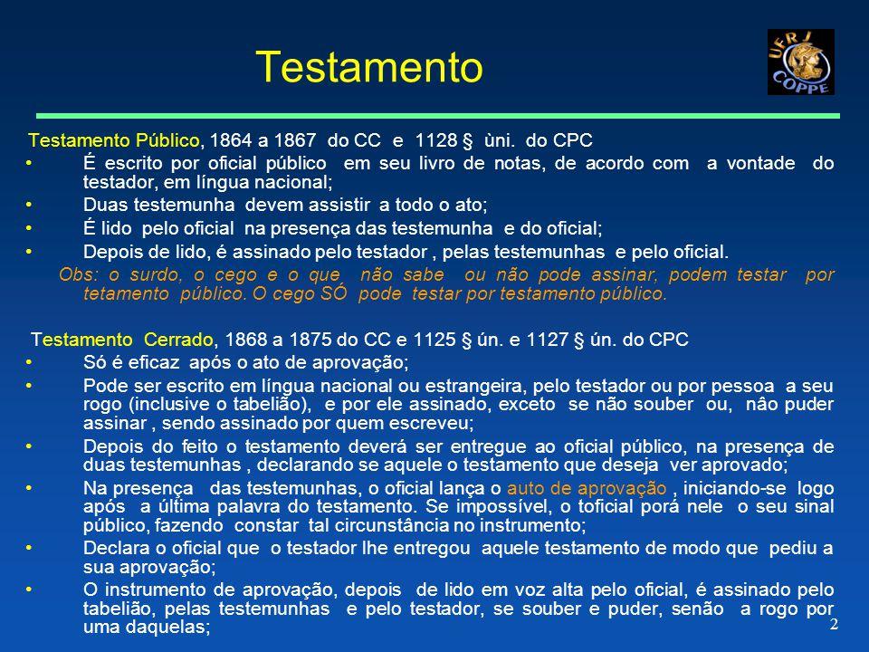 Testamento Testamento Público, 1864 a 1867 do CC e 1128 § ùni. do CPC.