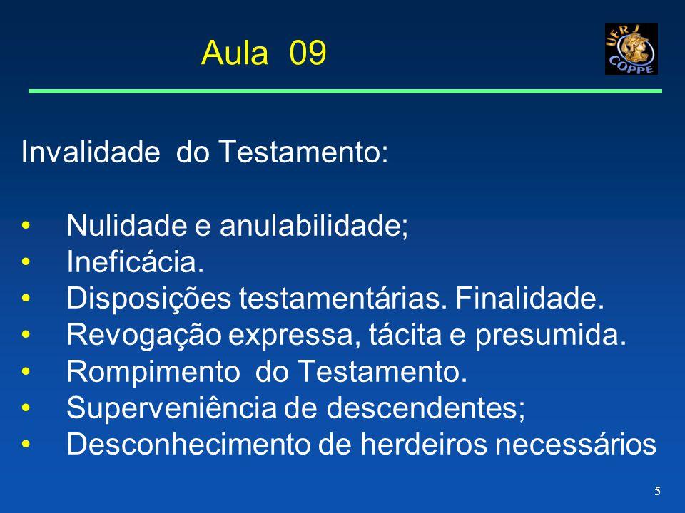 Aula 09 Invalidade do Testamento: Nulidade e anulabilidade;