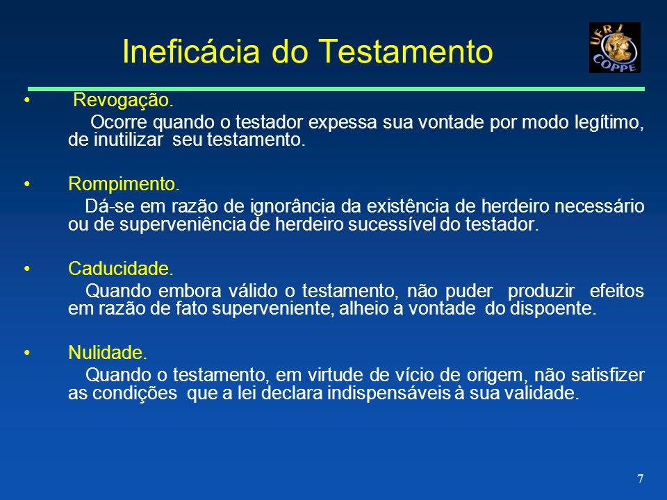 Ineficácia do Testamento