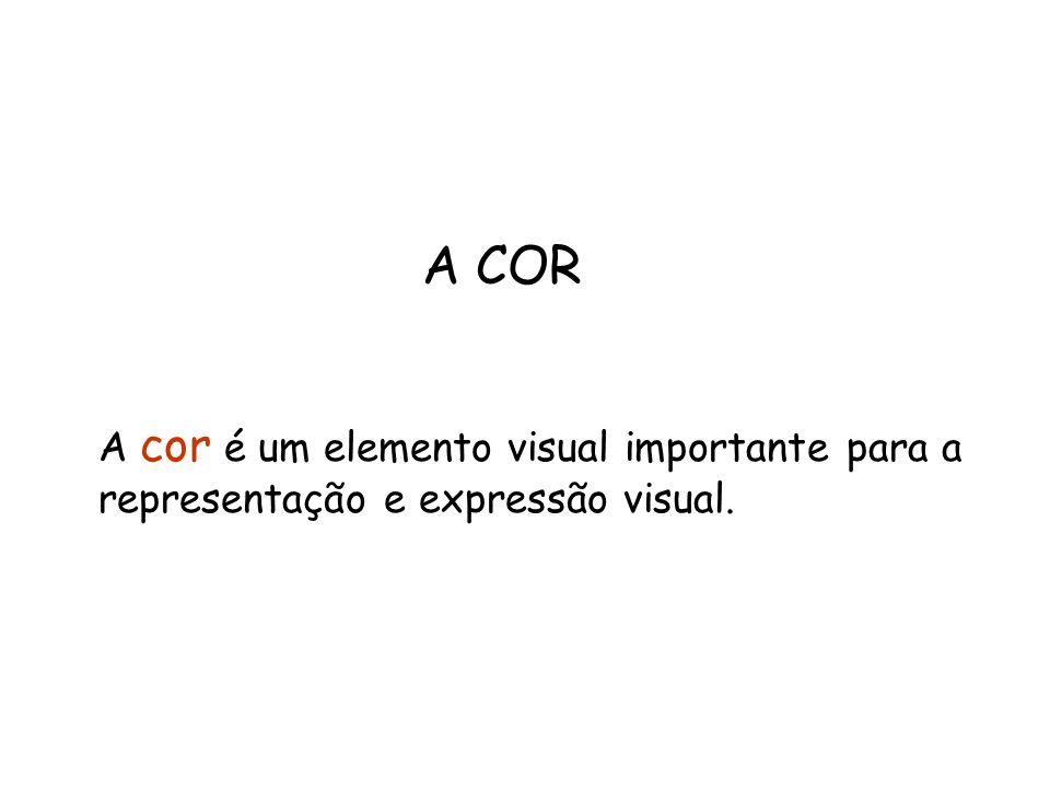 A COR A cor é um elemento visual importante para a representação e expressão visual.