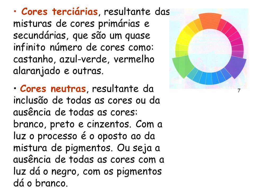 Cores terciárias, resultante das misturas de cores primárias e secundárias, que são um quase infinito número de cores como: castanho, azul-verde, vermelho alaranjado e outras.