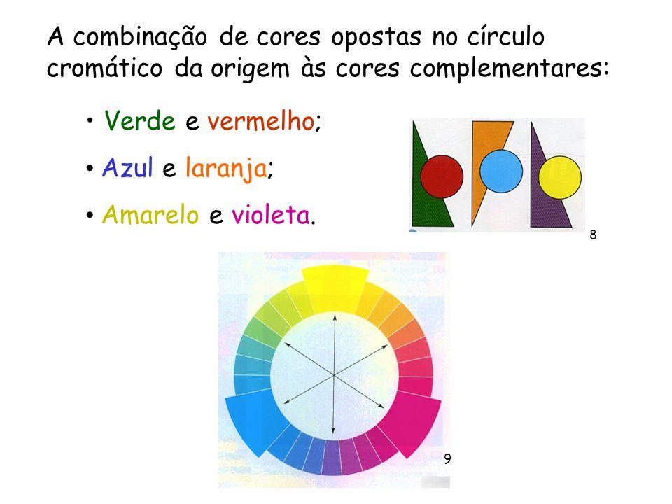 A combinação de cores opostas no círculo cromático da origem às cores complementares: