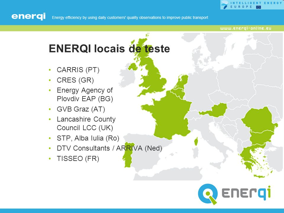 ENERQI locais de teste CARRIS (PT) CRES (GR)