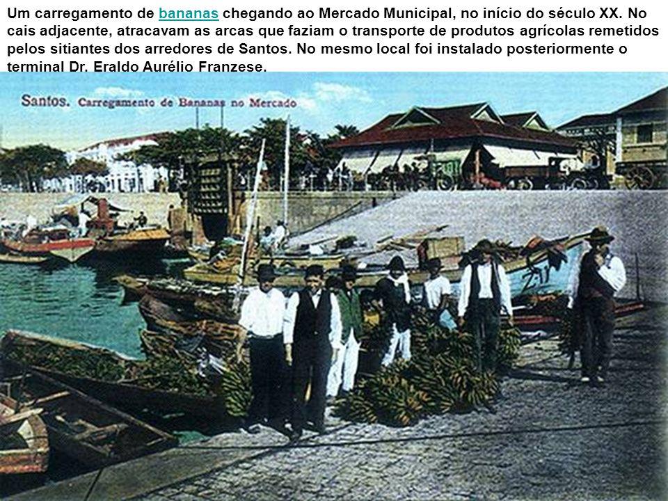 Um carregamento de bananas chegando ao Mercado Municipal, no início do século XX.