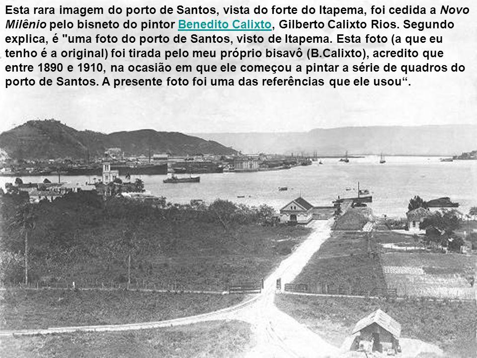 Esta rara imagem do porto de Santos, vista do forte do Itapema, foi cedida a Novo Milênio pelo bisneto do pintor Benedito Calixto, Gilberto Calixto Rios.