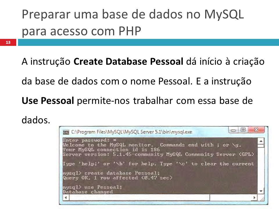 Preparar uma base de dados no MySQL para acesso com PHP