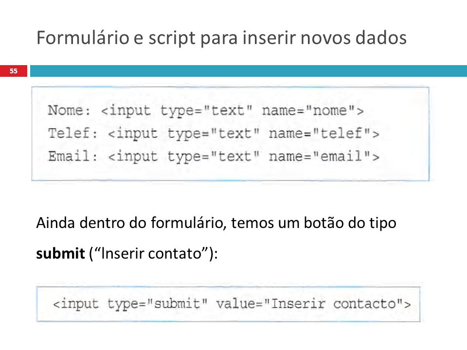 Formulário e script para inserir novos dados