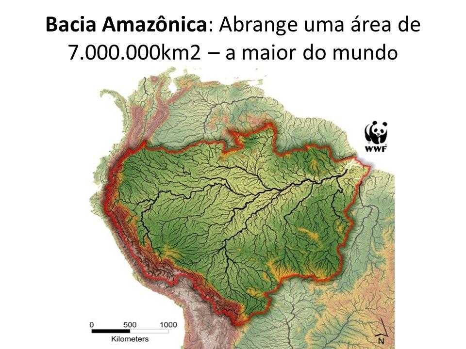 Bacia Amazônica: Abrange uma área de 7.000.000km2 – a maior do mundo