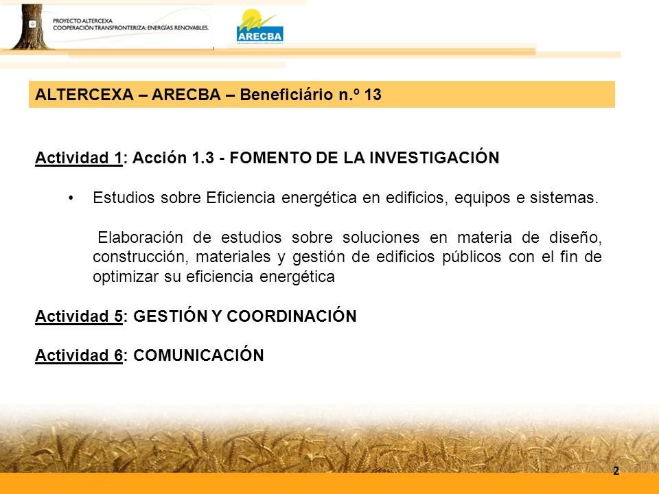 ALTERCEXA – ARECBA – Beneficiário n.º 13