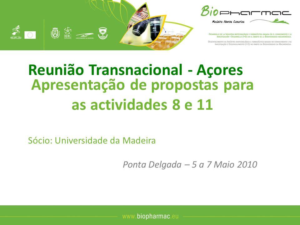 Apresentação de propostas para as actividades 8 e 11