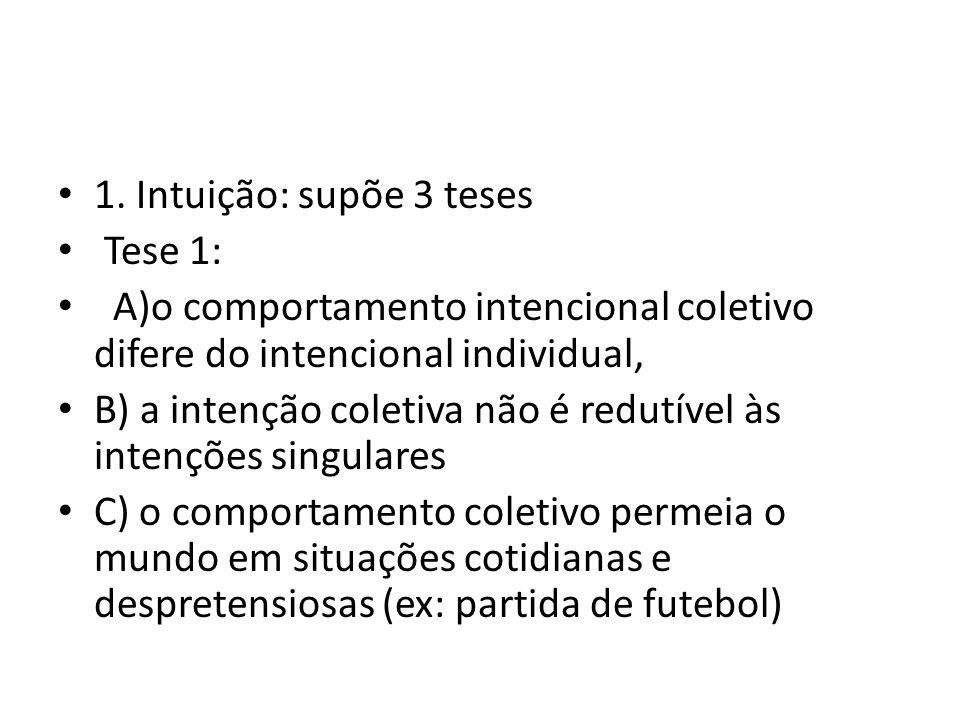1. Intuição: supõe 3 teses Tese 1: A)o comportamento intencional coletivo difere do intencional individual,
