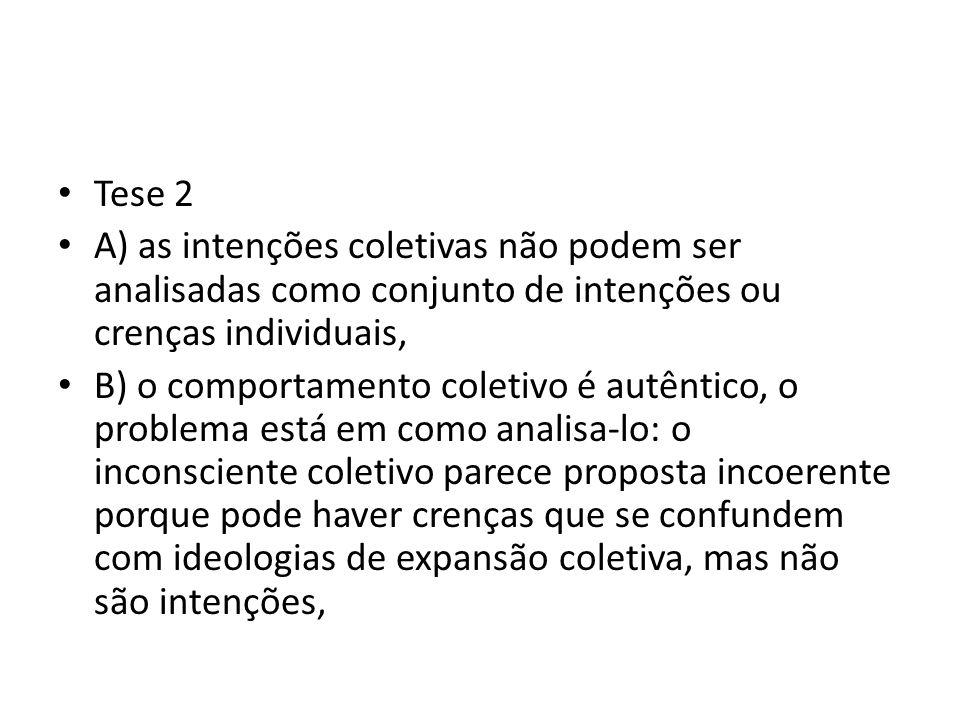 Tese 2 A) as intenções coletivas não podem ser analisadas como conjunto de intenções ou crenças individuais,