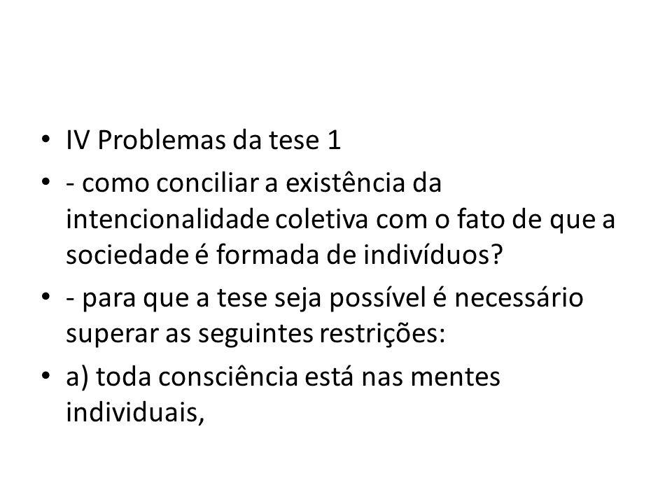 IV Problemas da tese 1 - como conciliar a existência da intencionalidade coletiva com o fato de que a sociedade é formada de indivíduos