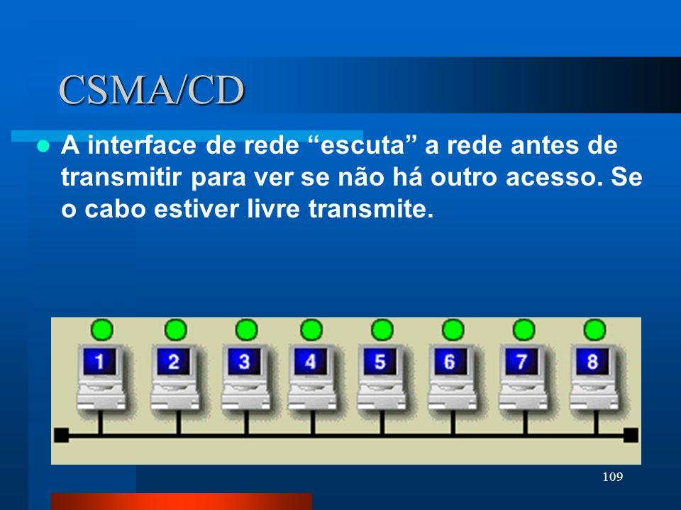 CSMA/CD A interface de rede escuta a rede antes de transmitir para ver se não há outro acesso.