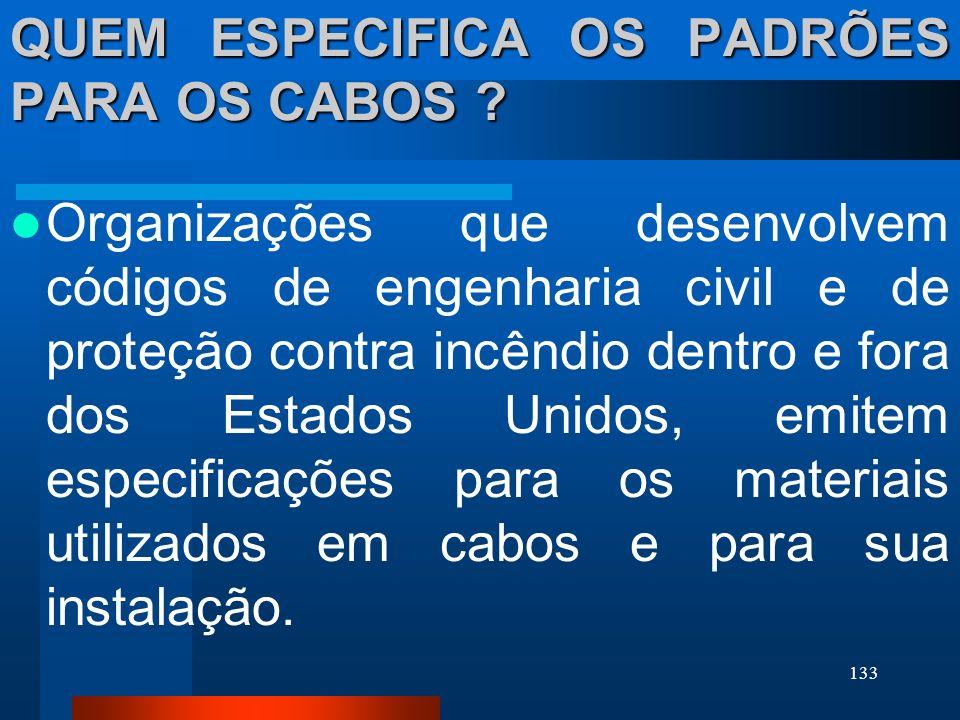 QUEM ESPECIFICA OS PADRÕES PARA OS CABOS