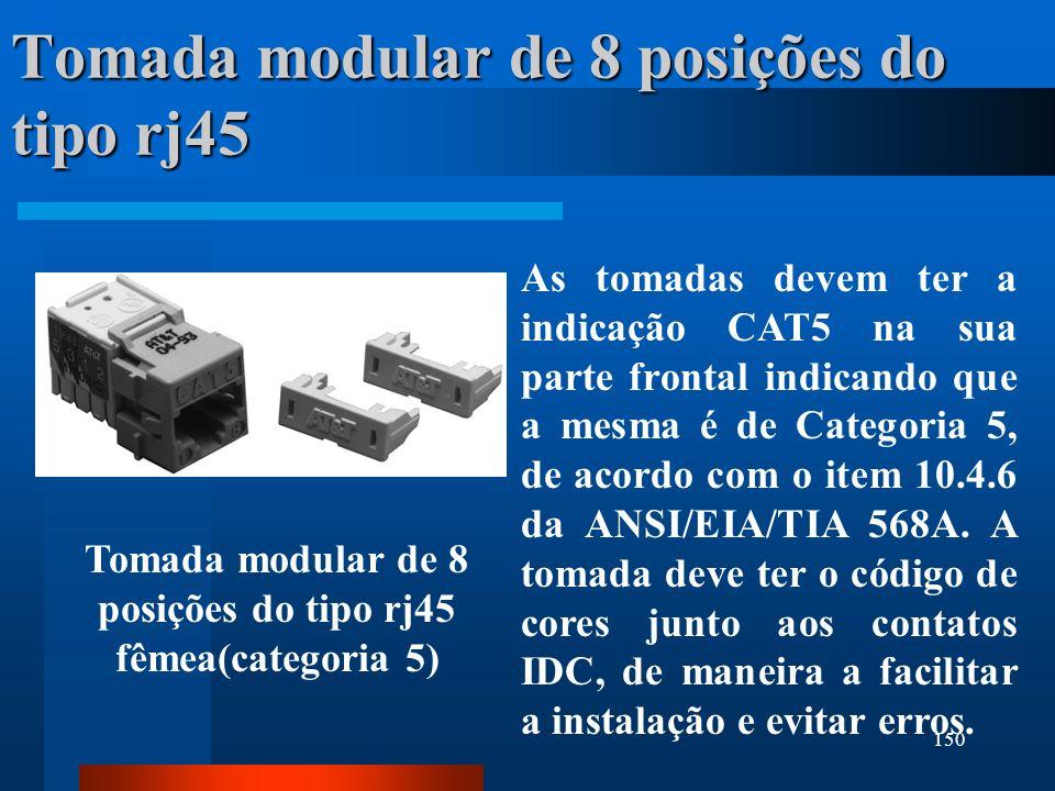Tomada modular de 8 posições do tipo rj45