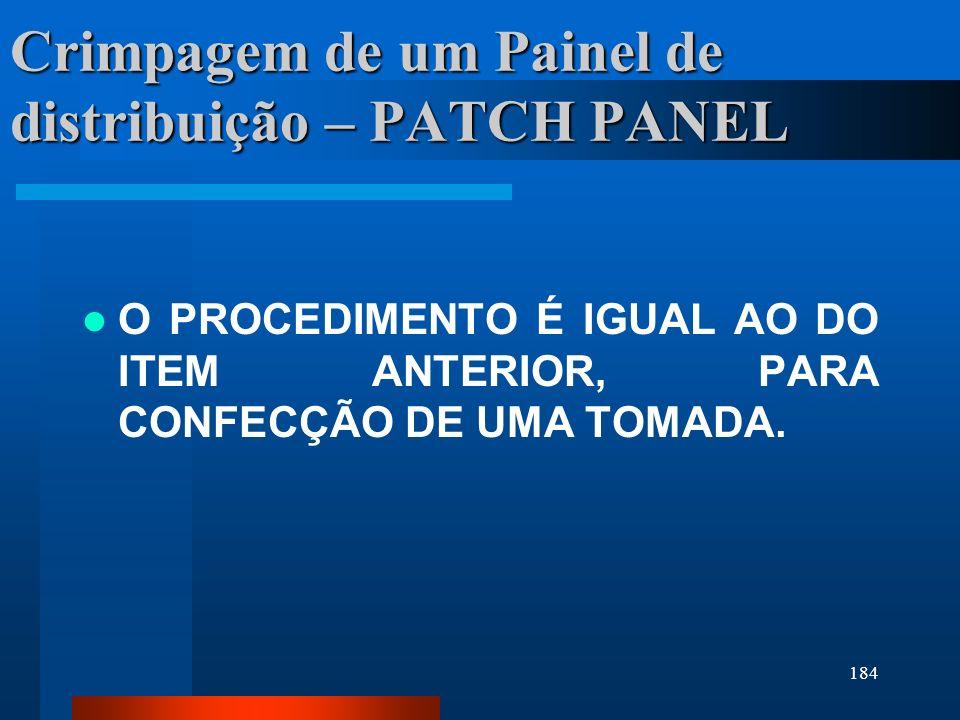 Crimpagem de um Painel de distribuição – PATCH PANEL