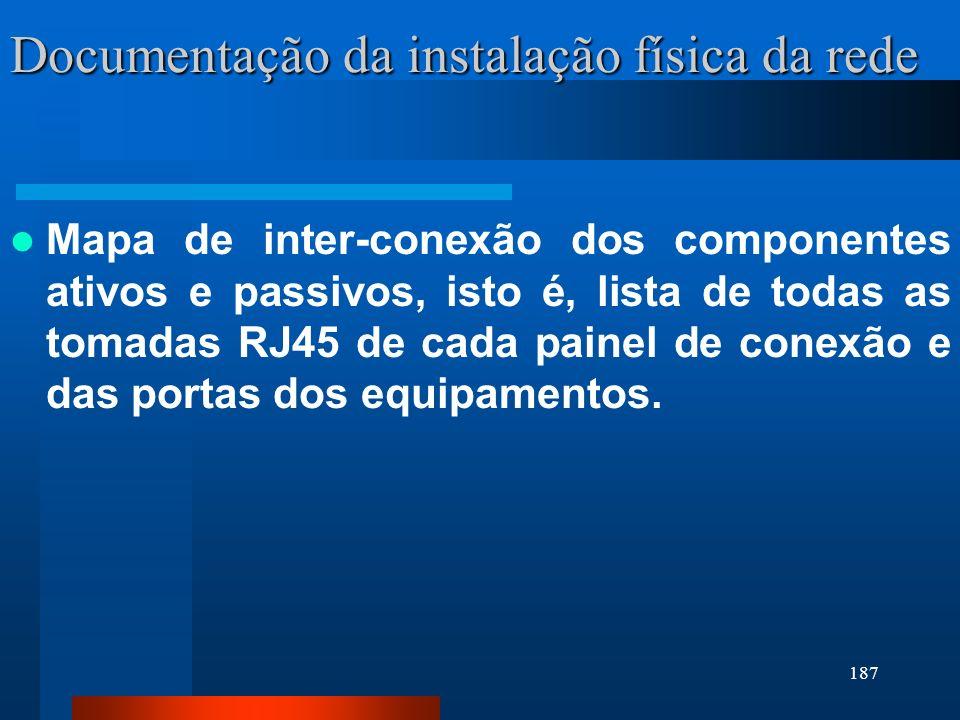 Documentação da instalação física da rede
